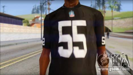 Oakland Raiders 55 McClain Black T-Shirt for GTA San Andreas third screenshot