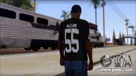 Oakland Raiders 55 McClain Black T-Shirt for GTA San Andreas second screenshot