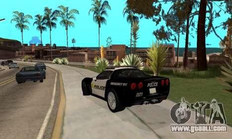 Chevrolet Corvette Z06 Los Santos Sheriff Dept for GTA San Andreas back left view