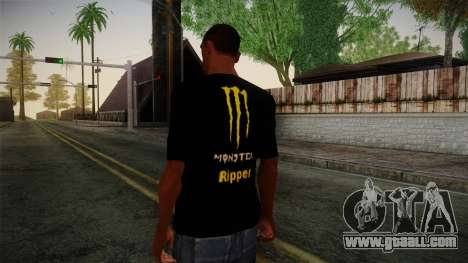 Monster Energy Shirt Black for GTA San Andreas second screenshot