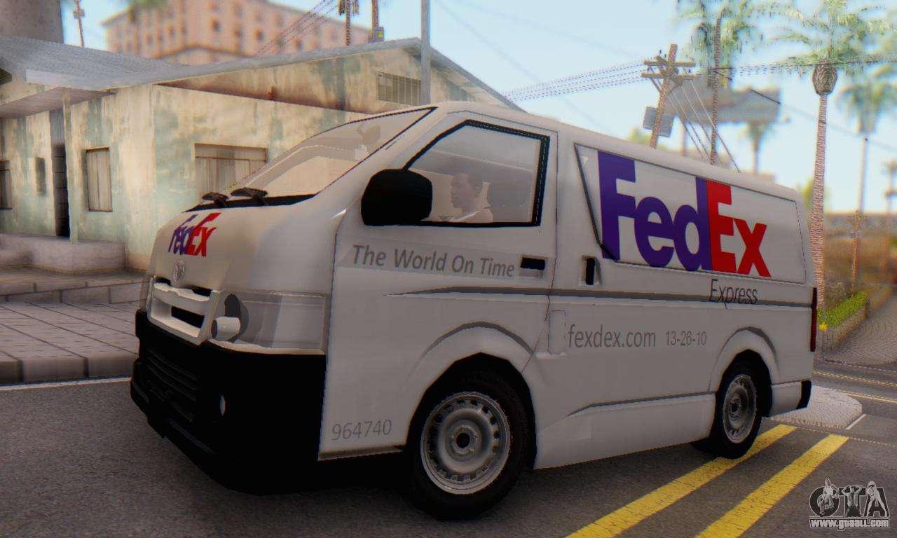 Toyota Hiace FedEx Cargo Van 2006 For GTA San Andreas Back Left View