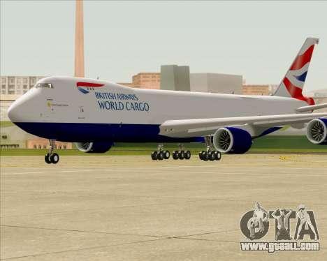 Boeing 747-8 Cargo British Airways World Cargo for GTA San Andreas inner view