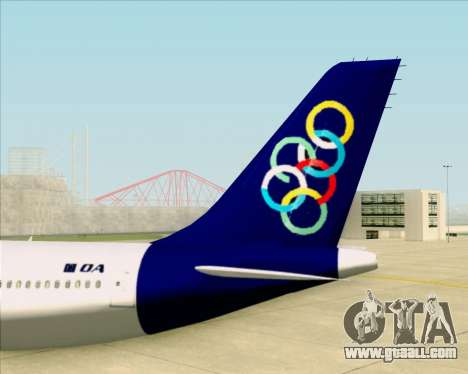 Airbus A330-300 Olympic Airlines for GTA San Andreas bottom view