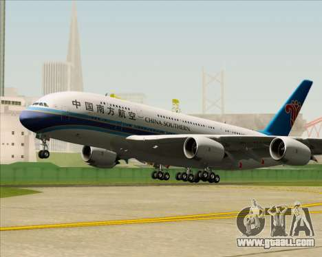 Airbus A380-841 China Southern Airlines for GTA San Andreas back view