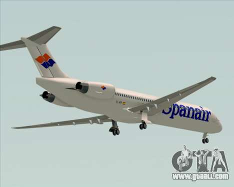 McDonnell Douglas MD-82 Spanair for GTA San Andreas upper view