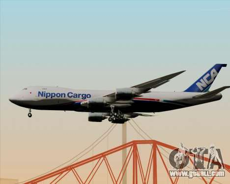 Boeing 747-8 Cargo Nippon Cargo Airlines for GTA San Andreas back left view