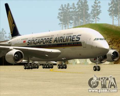 Airbus A380-841 Singapore Airlines for GTA San Andreas left view