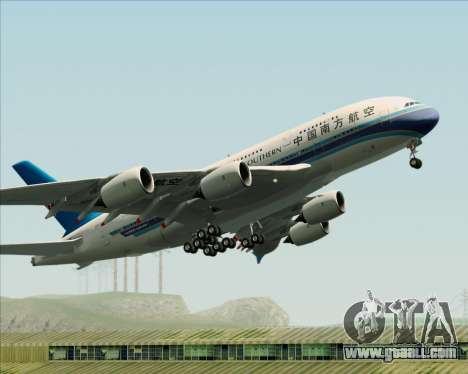 Airbus A380-841 China Southern Airlines for GTA San Andreas bottom view