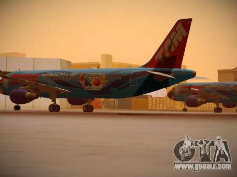 Airbus A320-214 TAM Airlines RIO for GTA San Andreas back left view