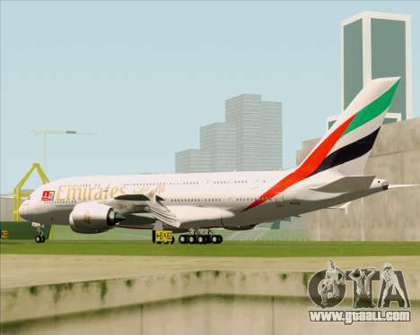 Airbus A380-841 Emirates for GTA San Andreas back view
