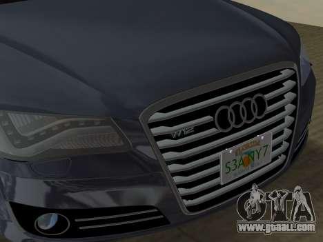 Audi A8 2010 W12 Rim3 for GTA Vice City interior