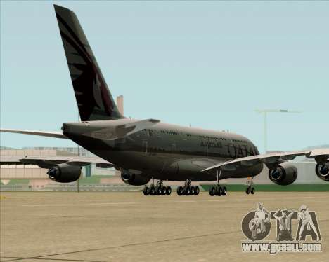 Airbus A380-861 Qatar Airways for GTA San Andreas back left view
