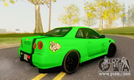 Nissan Skyline GT-R 34 for GTA San Andreas left view