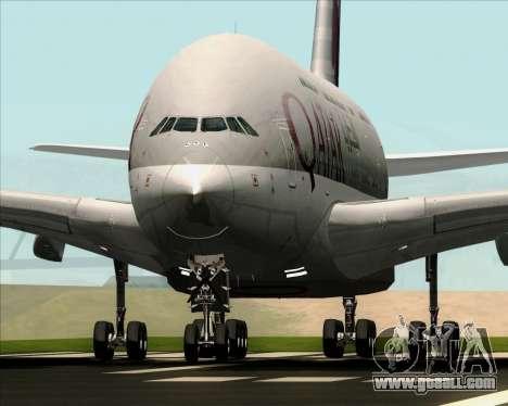 Airbus A380-861 Qatar Airways for GTA San Andreas back view