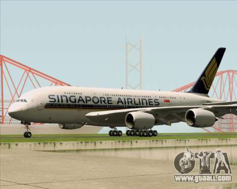 Airbus A380-841 Singapore Airlines for GTA San Andreas back view