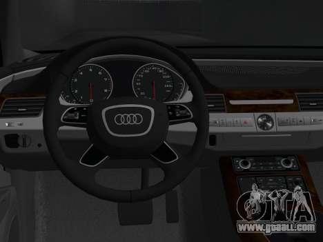 Audi A8 2010 W12 Rim3 for GTA Vice City back view