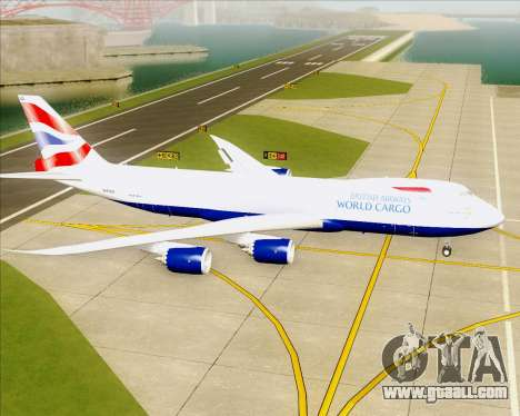 Boeing 747-8 Cargo British Airways World Cargo for GTA San Andreas back left view