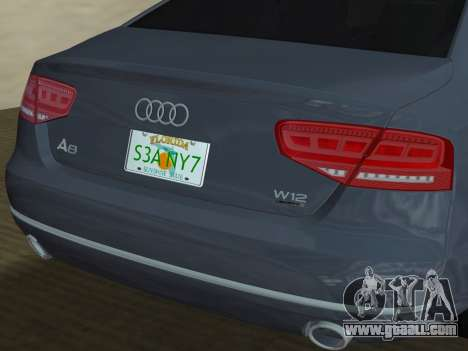 Audi A8 2010 W12 Rim3 for GTA Vice City engine