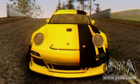 Porsche 911 GT3 R 2009 Black Yellow for GTA San Andreas inner view
