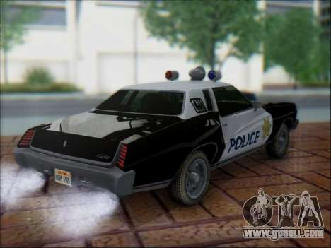 Chevrolet Monte Carlo 1973 Police for GTA San Andreas back view