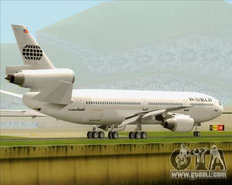 McDonnell Douglas DC-10-30 World Airways for GTA San Andreas bottom view