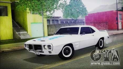 Pontiac Firebird Trans Am Coupe (2337) 1969 for GTA San Andreas upper view