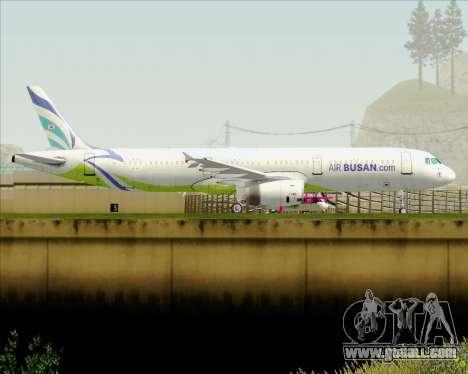 Airbus A321-200 Air Busan for GTA San Andreas back left view
