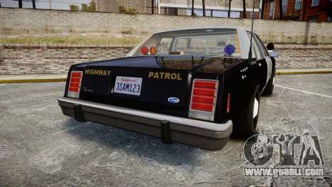 Ford LTD Crown Victoria 1987 Police CHP2 [ELS] for GTA 4 back left view