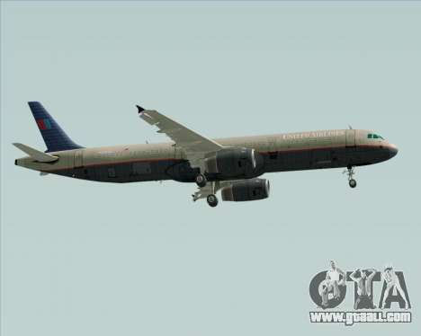 Airbus A321-200 United Airlines for GTA San Andreas back left view