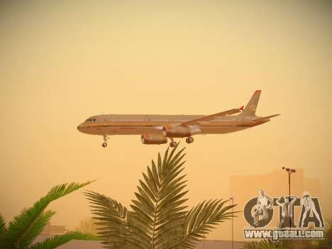 Airbus A321-232 Royal Jordanian Airlines for GTA San Andreas upper view