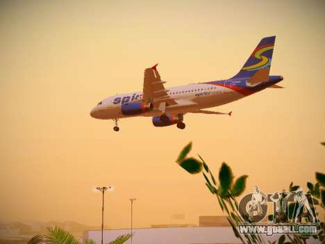 Airbus A319-132 Spirit Airlines for GTA San Andreas upper view