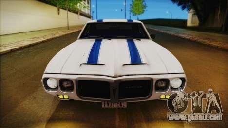 Pontiac Firebird Trans Am Coupe (2337) 1969 for GTA San Andreas engine