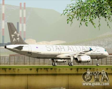 Airbus A321-200 Air New Zealand (Star Alliance) for GTA San Andreas bottom view