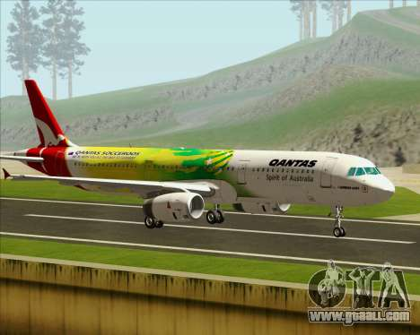 Airbus A321-200 Qantas (Socceroos Livery) for GTA San Andreas left view