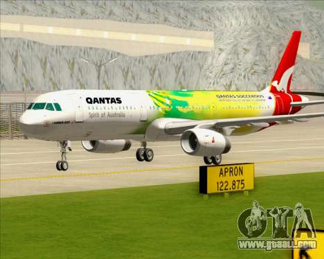 Airbus A321-200 Qantas (Socceroos Livery) for GTA San Andreas upper view