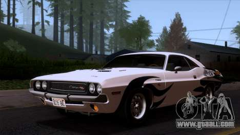 Dodge Challenger 426 Hemi (JS23) 1970 (ImVehFt) for GTA San Andreas upper view