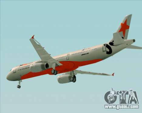 Airbus A321-200 Jetstar Airways for GTA San Andreas bottom view