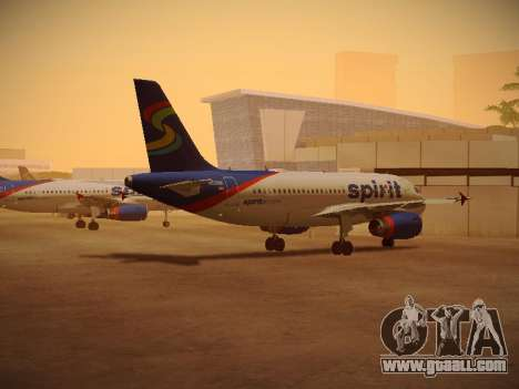 Airbus A319-132 Spirit Airlines for GTA San Andreas back left view