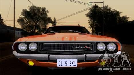 Dodge Challenger 426 Hemi (JS23) 1970 (ImVehFt) for GTA San Andreas back view