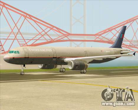Airbus A321-200 United Airlines for GTA San Andreas left view