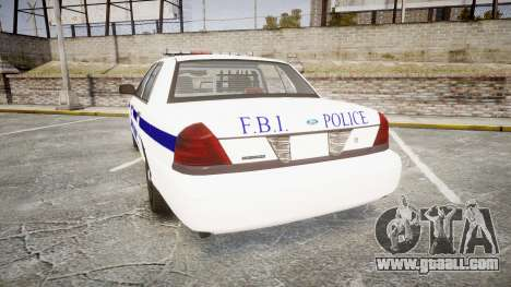 Ford Crown Victoria F.B.I. Police [ELS] for GTA 4 back left view