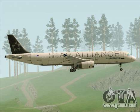 Airbus A321-200 Air New Zealand (Star Alliance) for GTA San Andreas side view