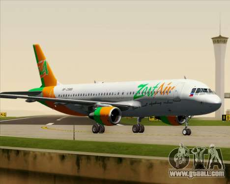 Airbus A320-200 Zest Air for GTA San Andreas bottom view