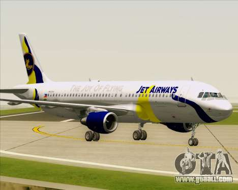 Airbus A320-200 Jet Airways for GTA San Andreas bottom view