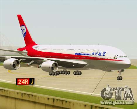 Airbus A380-800 Sichuan Airlines for GTA San Andreas back left view