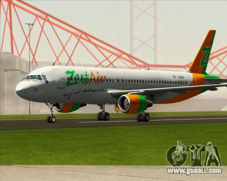 Airbus A320-200 Zest Air for GTA San Andreas back left view