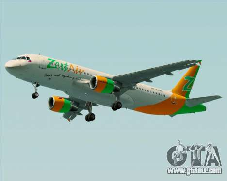 Airbus A320-200 Zest Air for GTA San Andreas wheels