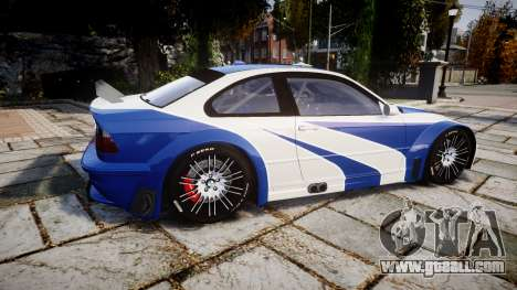 BMW M3 E46 GTR Most Wanted plate NFS Pro Street for GTA 4 left view