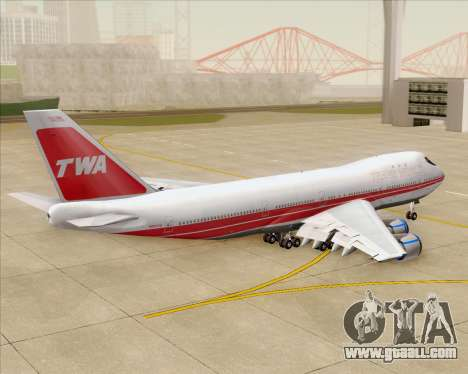 Boeing 747-100 Trans World Airlines (TWA) for GTA San Andreas upper view