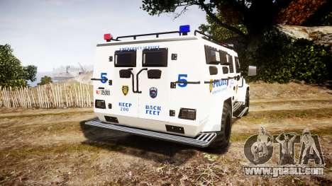 SWAT Van Police Emergency Service for GTA 4 back left view